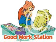good work station cartoon