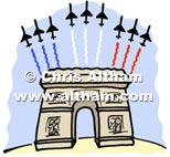 Arc de Triomphe + French Jet Slaute Fly Over