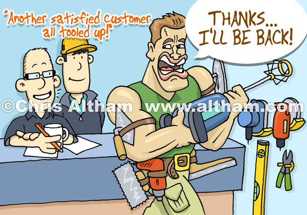 US Govenor Arnold 'Arnie' Schwarzenegger caricature with famous strap line 'I'll be back!'