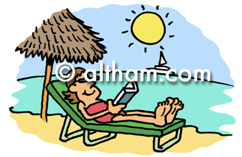 Lazing on Beach Sunbathing Cartoon