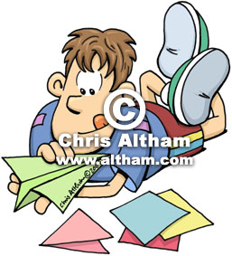 Boy Making Paper Aeroplane Cartoon