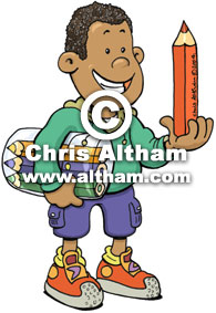 Black Boy with Pencils Cartoon
