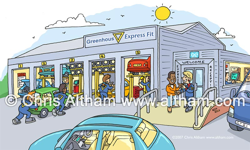 tyre exhaust centre cartoon quick fit