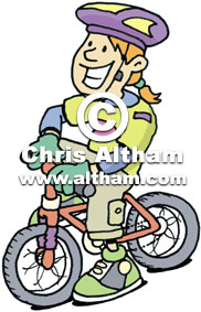 Girl cyclist wearing safety helmet cartoon