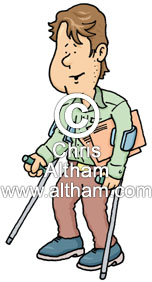 disabled man walking with crutches cartoon