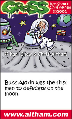 Buzz Aldrin American Astronaut on the Moon Cartoon