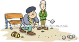French Men Playing French Bowls Cartoon