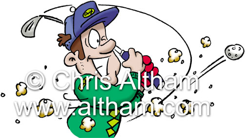 golfer swinging cartoon