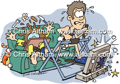 home work out keep fit cartoon