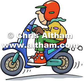 French Moped Rider Cartoon