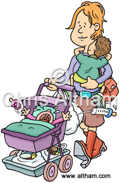Single mother with children cartoon