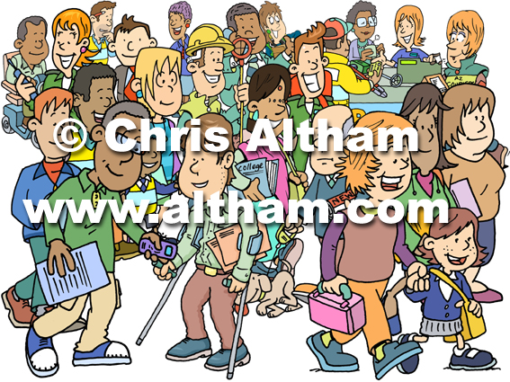 Positive Happy People Group Cartoon Busy Scene