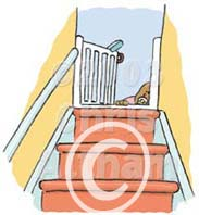 open stair gate fall hazard cartoon