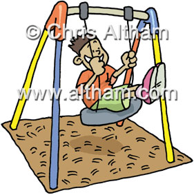 happy boy on swing cartoon