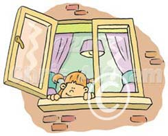 child open window hazard cartoon